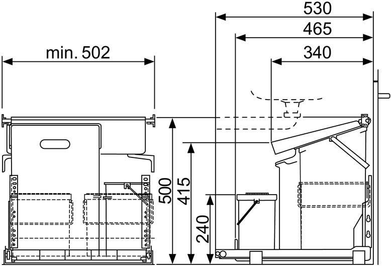 Poubelles système coulissant MÜLLEX COMFORT 35/5/4/4