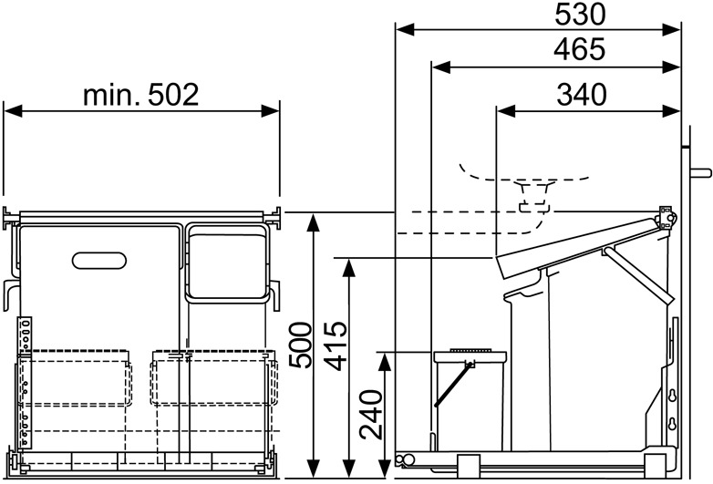 Poubelles système coulissant MÜLLEX COMFORT 35/17/4/4
