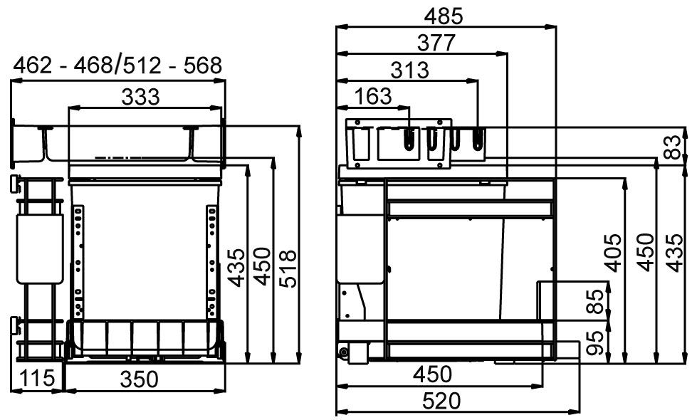 Secchio per rifiuti sistema estraibile MÜLLEX BOXX40-R P