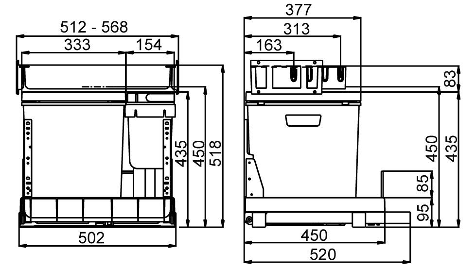 Poubelles système coulissant MÜLLEX BOXX55/60-R Bio