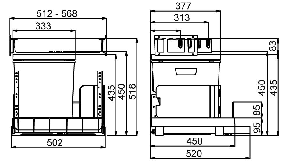 Secchio per rifiuti sistema estraibile MÜLLEX BOXX55/60-R City