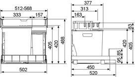 Kehricht-Auszugsystem MÜLLEX EURO BOXX55/60-R
