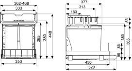 Poubelles système coulissant MÜLLEX TRIOXX 2 x 16 / 3 x 16