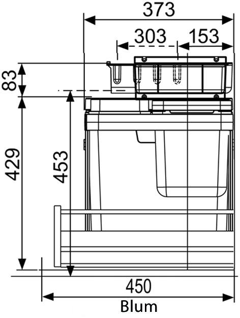 Kehrichtsystem MÜLLEX ZK-BOXX55/60 BIO für BLUM Legrabox