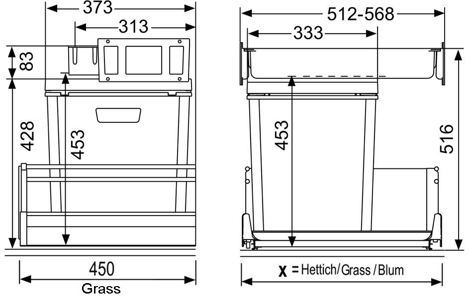 Sistema rifiuti MÜLLEX ZK-BOXX55/60 City per GRASS Nova Pro Classics / Deluxe