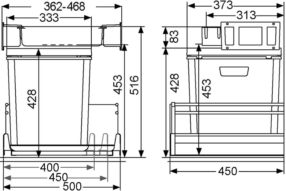 Sistema rifiuti MÜLLEX ZK-BOXX40/45/50 per BLUM Tandembox