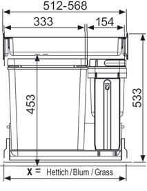 Kehrichtsystem MÜLLEX ZK-BOXX55/60 BIO für BLUM Tandembox