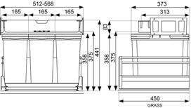 Systeme de déchets MÜLLEX ZK-TRIOXX 3 x 16 pour  für GRASS Nova Pro Classic / Deluxe