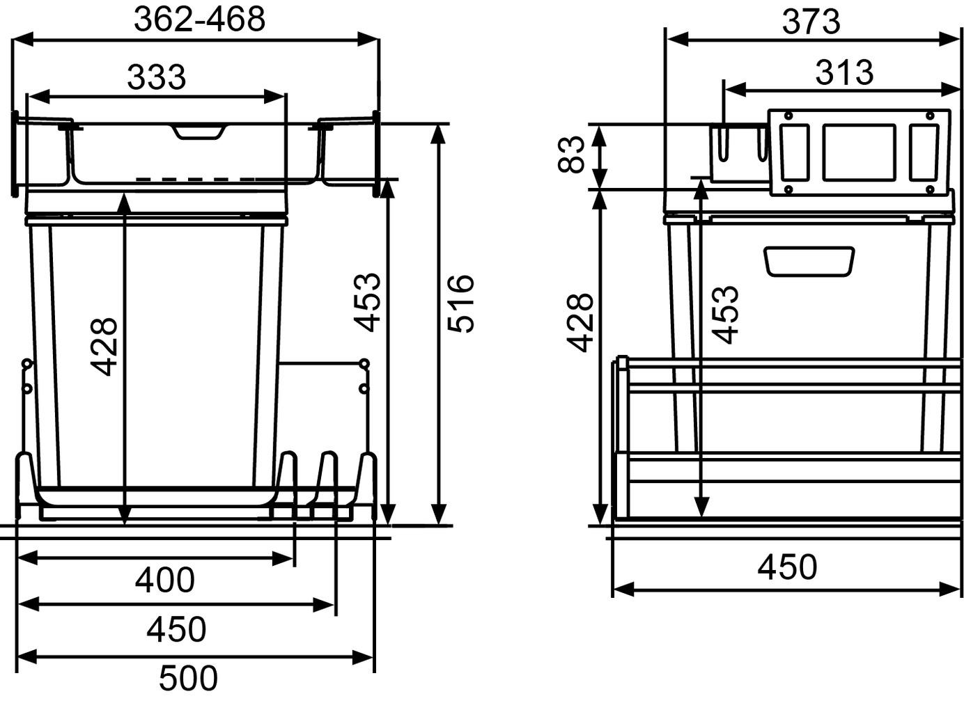 Kehrichtsystem MÜLLEX ZK-BOXX 40/45/50 für GRASS Vionaro