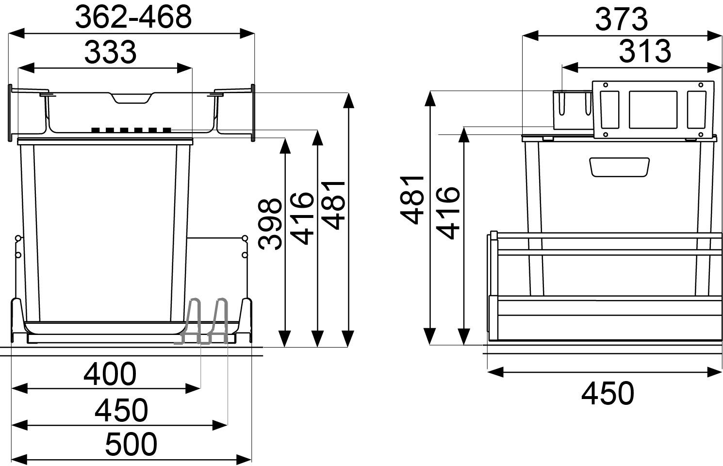 Kehrichtsystem MÜLLEX EURO ZK-BOXX 40/45/50 für GRASS Vionaro