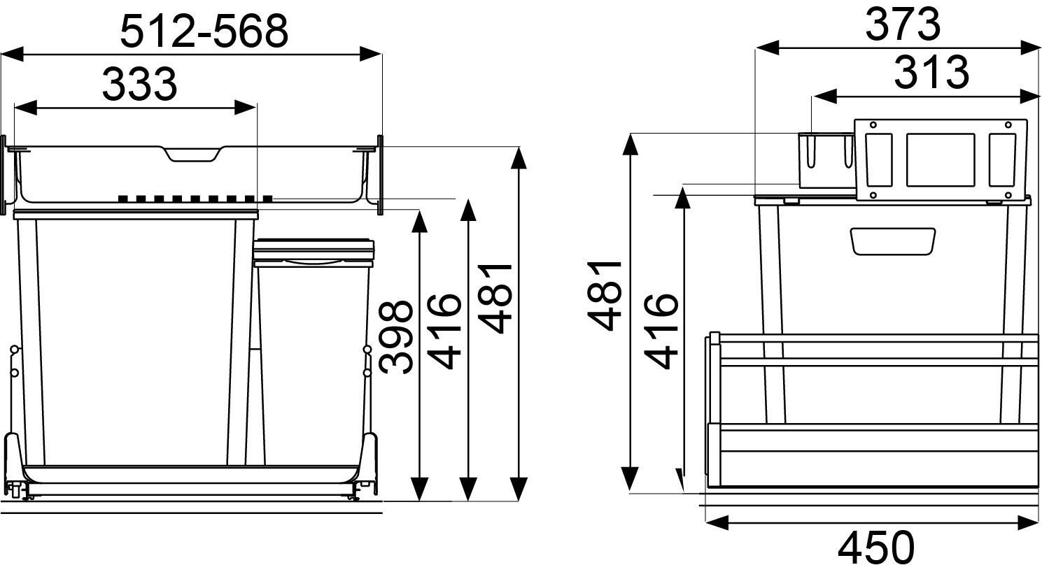 Sistema rifiuti MÜLLEX EURO ZK-BOXX55/60 per GRASS Vionaro