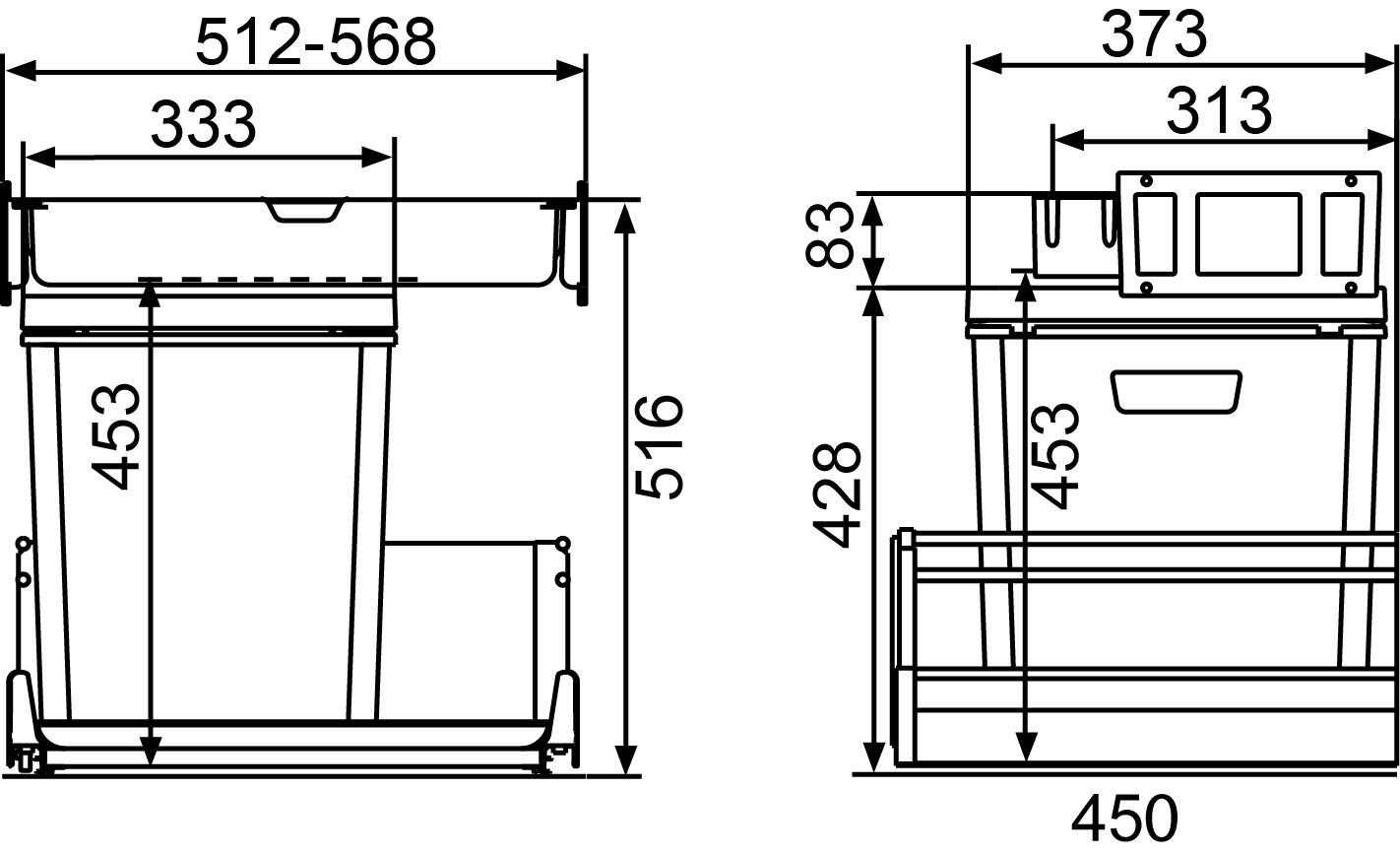 Kehrichtsystem MÜLLEX ZK-BOXX55/60 City für GRASS Vionaro