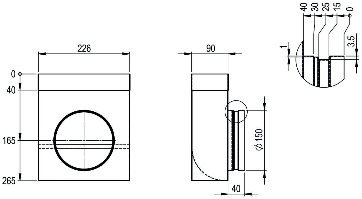 Anschlussstück symmetrisch HASTRAG zum Einlegen mit Leitblech für Flachkanal