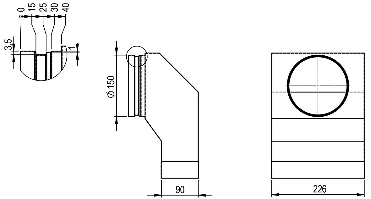 Anschlussstück symmetrisch HASTRAG optimiert