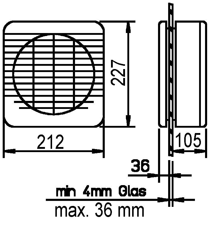 Fensterventilator HELIOS GXC225, reversierbar mit elektrischem Verschluss, mit Kordelzug