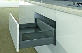 Komplett-Set Frontschubkasten / Frontinnenschubkasten HETTICH ArciTech mit DesignSide anthrazit, Zargenhöhe 94 mm / Systemhöhe 186 mm