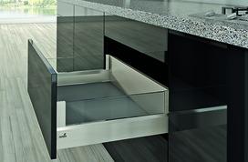 Kits complets tiroir à casseroles / tiroir intérieur à casseroles HETTICH ArciTech avec DesignSide, inox-finish, hauteur châssis 94 mm, hauteur du système 186 mm