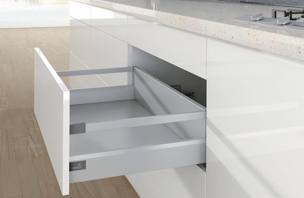 Tiroir à casseroles / tiroir intérieur à casseroles complet HETTICH ArciTech, argent, blanc, anthracite
