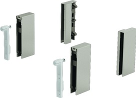 DesignSide Adapter HETTICH ArciTech, edelstahlfinish, Systemhöhe 186 / 218 mm