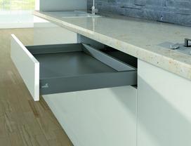 Kits complets pour tiroir sous cuisinière HETTICH ArciTech, anthracite, hauteur châssis 78 mm / hauteur du système 78 mm