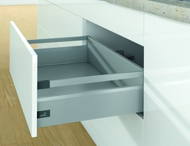 Kits complets tiroir à casseroles / tiroir intérieur à casseroles HETTICH ArciTech avec reling, argent, hauteur châssis 126 mm, hauteur du système 186 mm