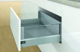 Kits complets tiroir à casseroles / tiroir intérieur à casseroles HETTICH ArciTech avec DesignSide, argent, hauteur châssis 94 mm, hauteur du système 218 mm