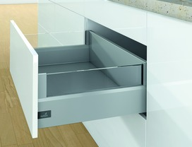 Kits complets tiroir à casseroles / tiroir intérieur à casseroles HETTICH ArciTech avec DesignSide, argent, hauteur châssis 126 mm, hauteur du système 218 mm