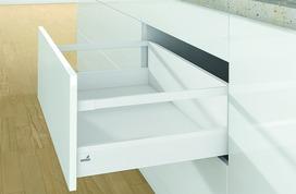 Kit completi frontale cassetto / frontale cassetto interno HETTICH ArciTech con sospensione, bianco, altezza spondine 94 mm, altezza del sistema 218 mm