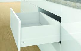Kits complets tiroir à casseroles / tiroir intérieur à casseroles HETTICH ArciTech avec TopSide, blanc, hauteur châssis 94 mm, hauteur du système 218 mm