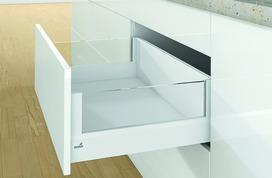 Kits complets tiroir à casseroles / tiroir intérieur à casseroles HETTICH ArciTech avec DesignSide, blanc, hauteur châssis 94 mm, hauteur du système 218 mm