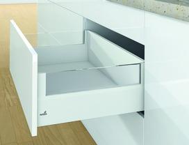 Kits complets tiroir à casseroles / tiroir intérieur à casseroles HETTICH ArciTech avec DesignSide, blanc, hauteur châssis 126 mm, hauteur du système 218 mm