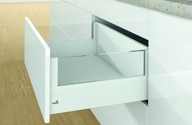 Kits complets tiroir à casseroles HETTICH ArciTech avec DesignSide, blanc, hauteur châssis 126 mm, hauteur du système 250 mm