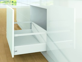 Kits complets tiroir à casseroles HETTICH ArciTech avec reling, blanc, hauteur châssis 126 mm, hauteur du système 282 mm