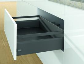 Kits complets tiroir à casseroles / tiroir intérieur à casseroles HETTICH ArciTech avec reling, anthracite, hauteur châssis 126 mm, hauteur du système 186 mm
