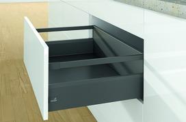 Kits complets tiroir à casseroles / tiroir intérieur à casseroles HETTICH ArciTech avec reling, anthracite, hauteur châssis 126 mm, hauteur du système 218 mm