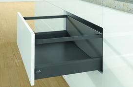 Kits complets tiroir à casseroles HETTICH ArciTech avec reling, anthracite, hauteur châssis 94 mm, hauteur du système 250 mm