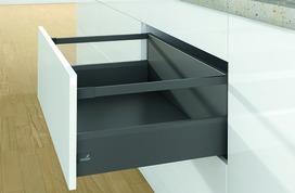 Kits complets tiroir à casseroles HETTICH ArciTech avec reling, anthracite, hauteur châssis 126 mm, hauteur du système 250 mm