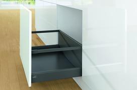 Kits complets tiroir à casseroles HETTICH ArciTech avec reling, anthracite, hauteur châssis 94 mm, hauteur du système 282 mm