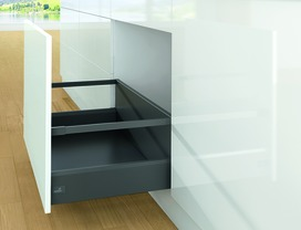 Kits complets tiroir à casseroles HETTICH ArciTech avec reling, anthracite, hauteur châssis 126 mm, hauteur du système 282 mm