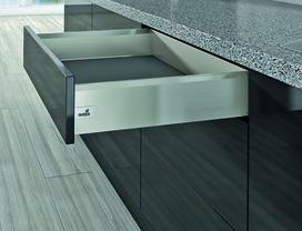Kits complets tiroir / tiroir intérieur HETTICH ArciTech, inox-finish, hauteur châssis 126 mm / hauteur du système 126 mm