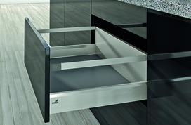 Kits complets tiroir à casseroles / tiroir intérieur à casseroles HETTICH ArciTech avec reling, inox-finish, hauteur châssis 94 mm, hauteur du système 218 mm