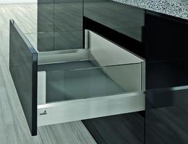 Kit completi frontale cassetto / frontale cassetto interno HETTICH ArciTech con DesignSide, effetto inox, altezza spondine 94 mm, altezza del sistema 218 mm