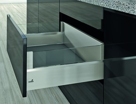 Kits complets tiroir à casseroles / tiroir intérieur à casseroles HETTICH ArciTech avec DesignSide, inox-finish, hauteur châssis 126 mm, hauteur du système 218