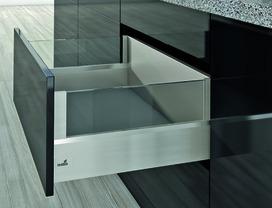 Kits complets tiroir à casseroles HETTICH ArciTech avec DesignSide, inox-finish, hauteur châssis 126 mm, hauteur du système 250 mm