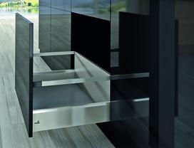 Kits complets tiroir à casseroles HETTICH ArciTech avec reling, inox-finish, hauteur châssis 126 mm, hauteur du système 282 mm