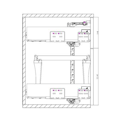Konstruktionsbeispiel Schliesssystem für Schubkastensysten ArciTech, Einbaubreite variabel / Lochreihe 32 mm / einseitig e variabel / Lochreihe 32 mm / einseitig