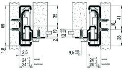 Roul. à ext. double FULTERER FR 7180, gris, 160kg, 1000mm