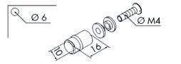 EKU 053.3101.981 Poignée goupille, GPK/GPPK/GPKS/GR, alu anodisé, rondelle en caout