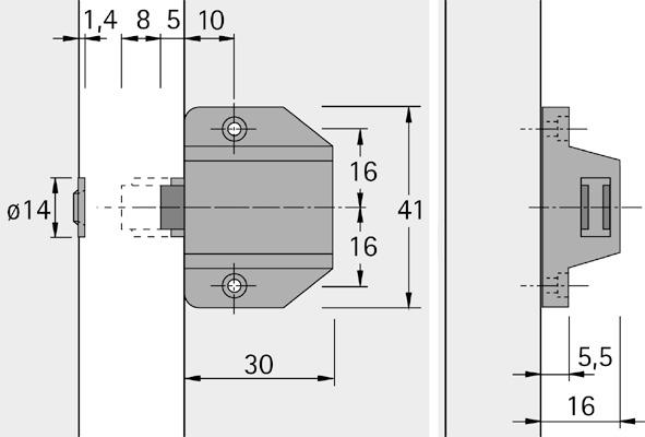 Loqueteau magnétique poussoir HETTICH D 7