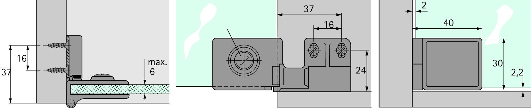 Charnières pour portes en verre HETTICH ET 5150
